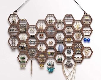 Earring Holder Display Honeycomb Walnut Earring Display Stud Wall Mount Hanger Jewelry Organizer Wood Gift for Women