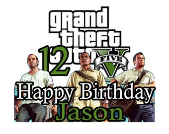 Grand Theft Auto Personalized Cake Topper GTA5 Party Decorations Custom Unisex Birthday Decor