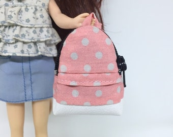 """Soft Mint With Yellow Polka Dot School Bag for 12/"""" Doll //Blythe//Barbie Doll"""