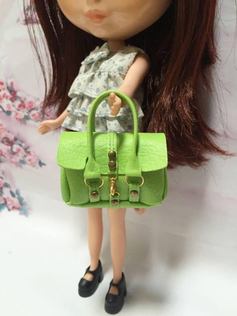 Dollhouse Miniatures Green Fashion Handbag for Blythe//Barbie//Pullip//Licca Doll
