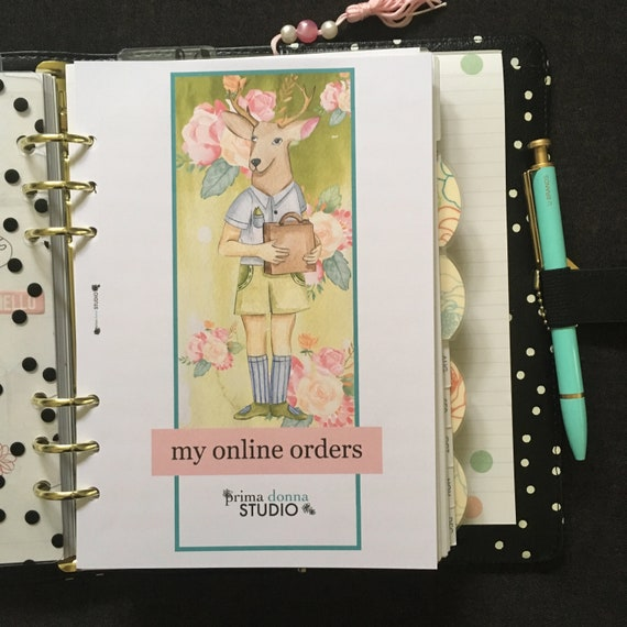 Printed Online Purchase Tracker Planner Inserts A5 Size Planner Inserts Online Shopping Tracker Inserts