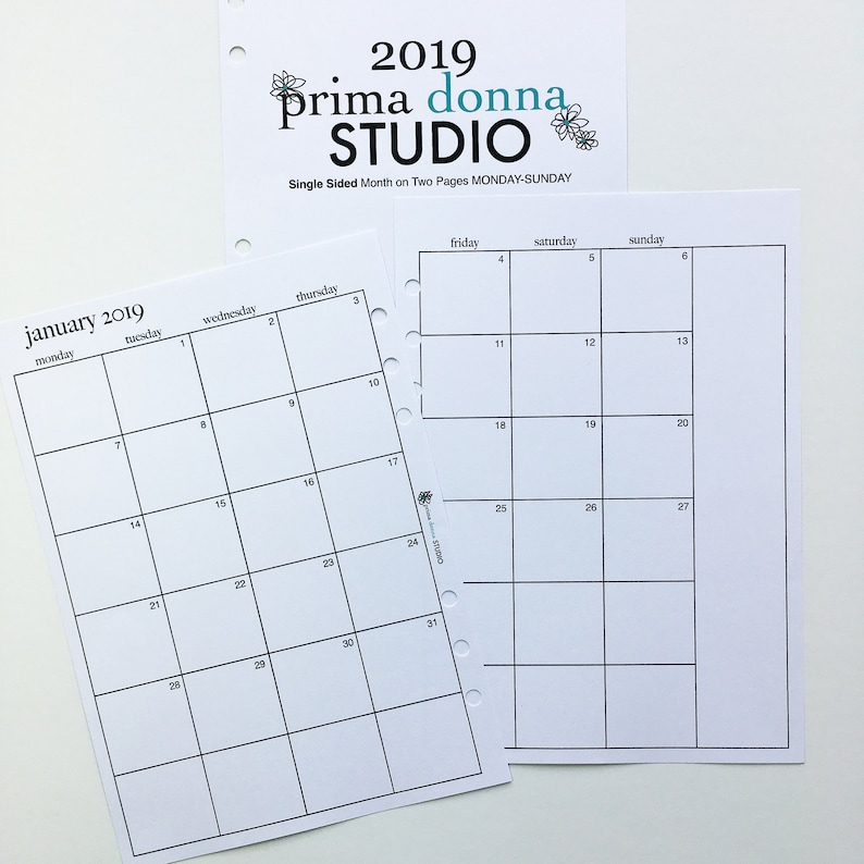 photograph about Two Page Monthly Calendar Template referred to as Thirty day period upon 2 Internet pages / 2019 Jan-Dec Calendar / Planner Inserts / MO2P / A5 Planner / Dated Month-to-month Calendar Planner Inserts / Monday Start off