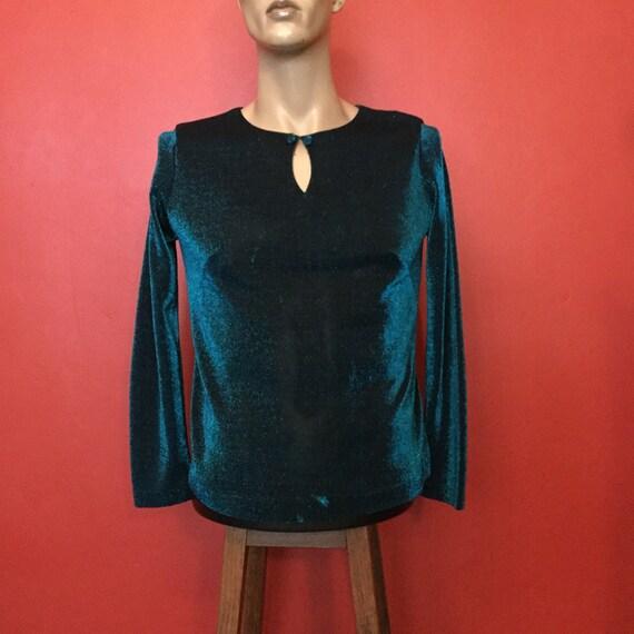 Classic 1960s cocktail blouse, vintage lurex, long