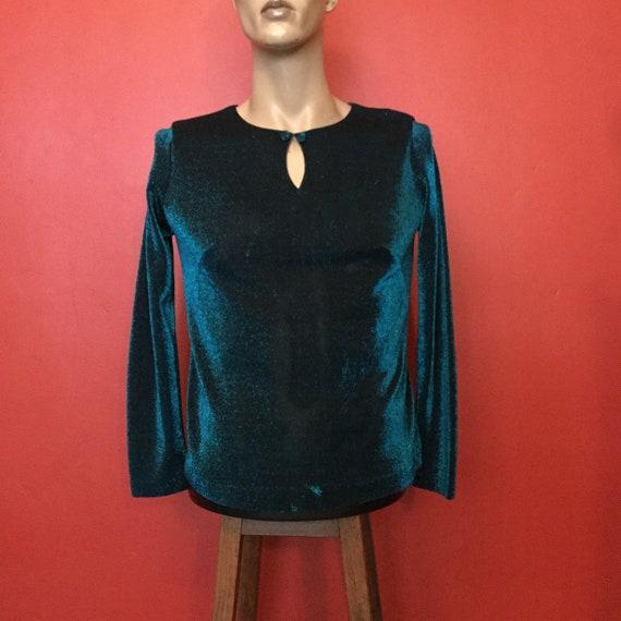 Vintage lurex turqoise long sleeve blouse, peephol
