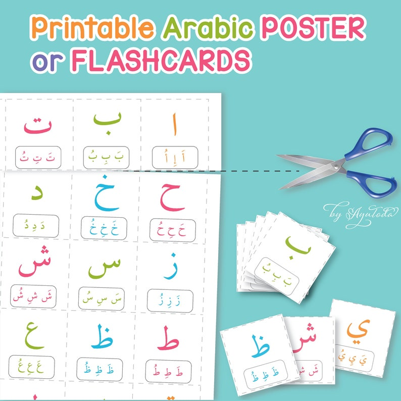 photograph about Arabic Alphabet Printable referred to as Printable ARABIC ALPHABET for Young children /arabic FLASHCARDS / Prompt down load arabic letters / printable present for small children / printable hijaiyah