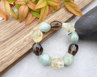 Citrine Smoky Quartz Aquamarine Bracelet