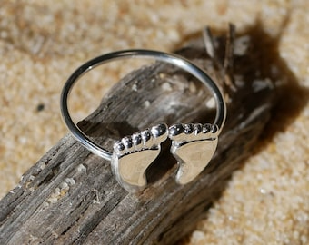 Baby feet ring - 925 Sterling Silver Foot - Baptism Jewellery - New Baby Jewelry - Gift for Mom