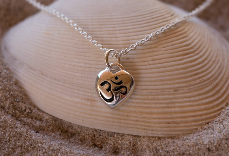 Om Pendant  Silver Necklace  925 Sterling Silver  Charm image 0