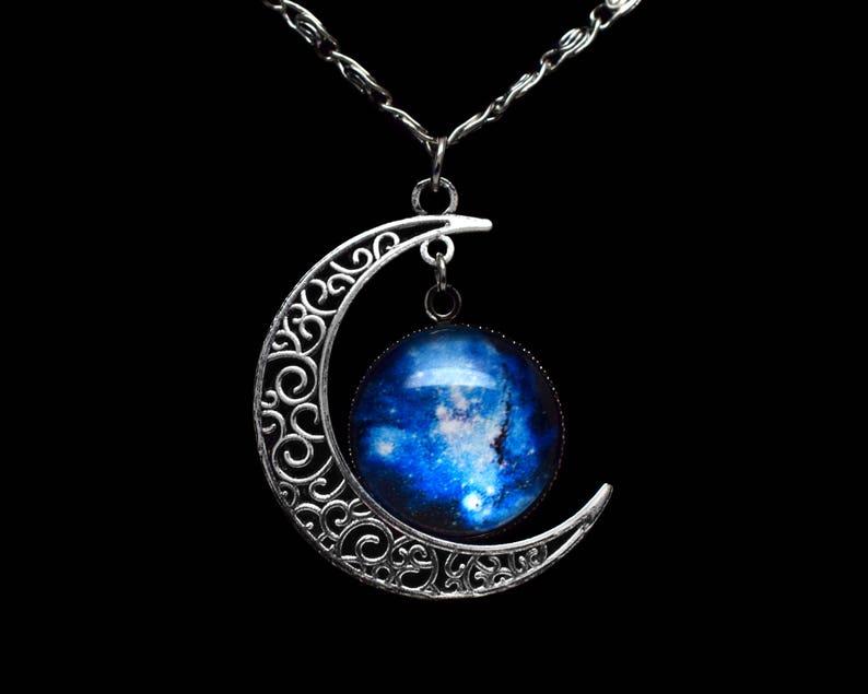 e83c8ff70bc Crescent Moon Necklace Galaxy Necklace Nebula Necklace