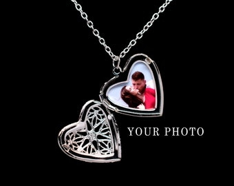 Heart Locket Necklace, Personalized Locket with Photo, Photo Locket, Couples Necklace, Personalized Gift Picture Locket, Silver Locket Gift