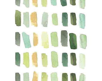 Abstract Painting - Brush Strokes - Paint Swatches - Art Print - 8x10 in.