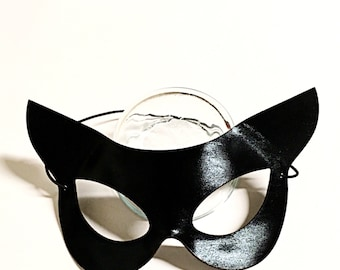 Vinyl Cat Mask, costume mask, costume accesory, feline mask, cat mask, black cat mask, molded cat mask, flirty cat mask, lovers mask