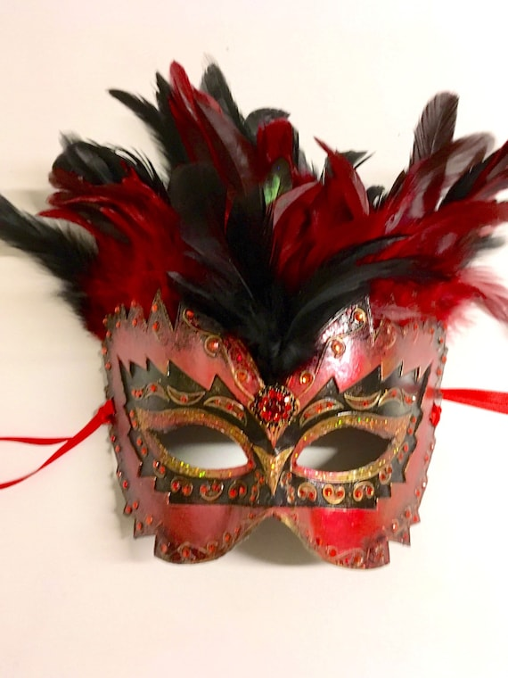 Mardi Gras Moulin Rouge Burlesque Venetian Masquerade Mask w Feathers Jewelled
