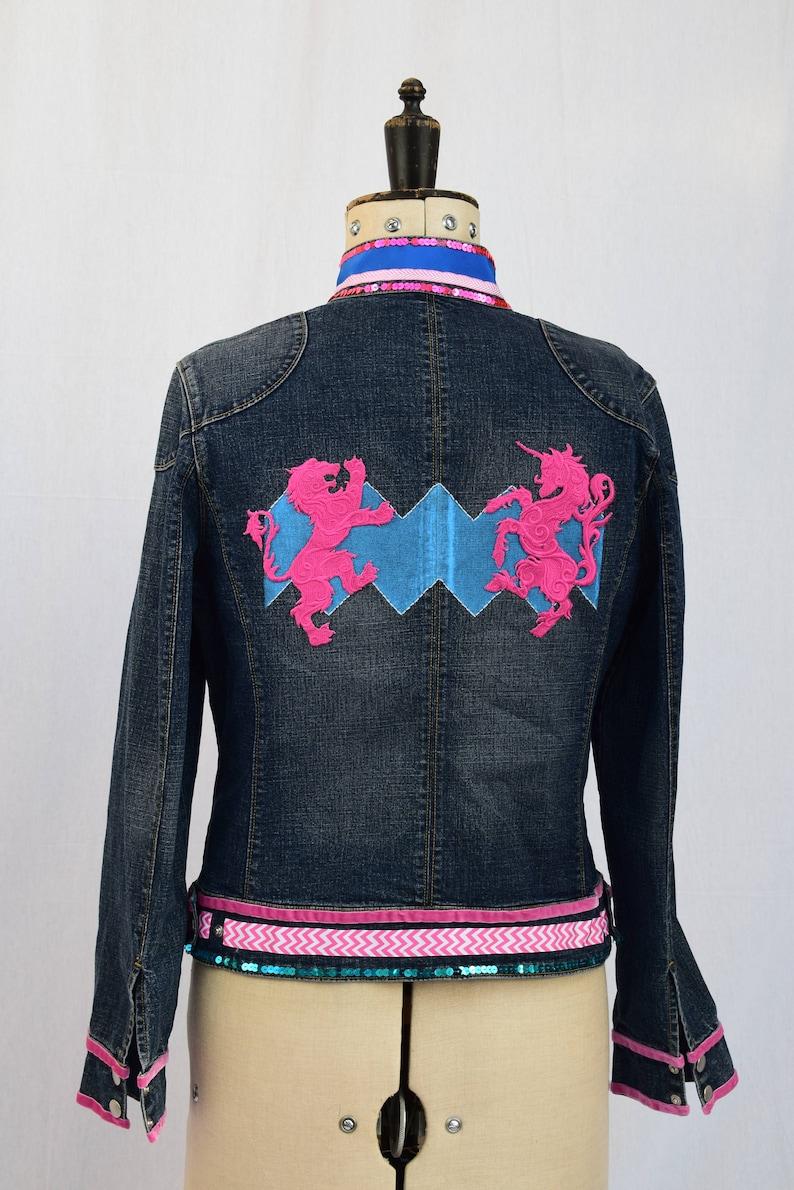 8ee552d5e78e7 Embroidered Embellished Upcycled Denim Jacket