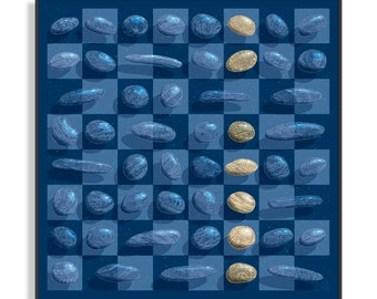 Original painting, PEBBLES 14 - Lunar - transparent pebbles 10-fold checkerboard blue night Collection