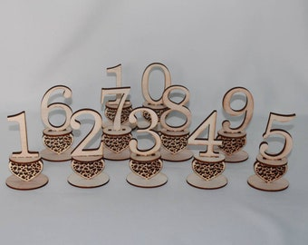 Table numbers lasered out of wood