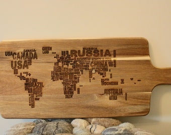 """Cutting board """"World Map"""" with hole"""