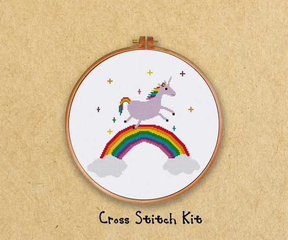 Unicorn on a rainbow cross-stitch kit from Ritacuna