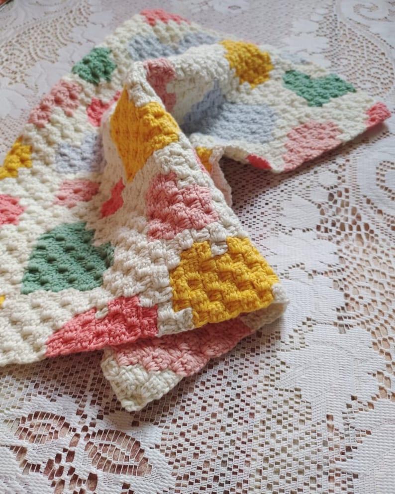 baby gift Baby blanket crochet pattern C2C chart and written instruction corner to corner security blanket design instant download pdf