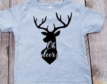 oh deer shirt, deer antlers shirt, toddler hunting shirt, deer toddler shirt