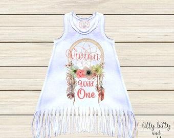 Wild One Dress Fringe Dress Boho Dress Toddler Girl Dresses Birthday Girl Dress Bohemian Fringe Dresses  First Birthday Baby Boho Outfit