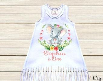 Fringe Dress One Birthday Dress Boho Baby Clothes First Birthday Girl Outfit Wild One Dress Personalized Elephant Dress Long Sleeve Dress