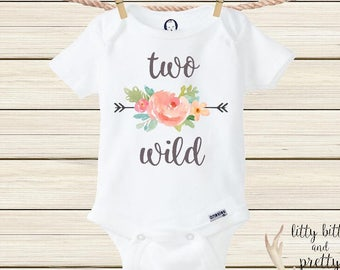 Two Wild Boho Onesie® Second Birthday Girl Hoodie Boho Baby Clothes Two Wild Bodysuit Hoodie Boho Birthday Outfit Bohemian Baby Boho Clothes