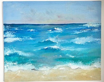 "Ocean Painting Art Oil Original //""Tranquil Tide"" 10 x 12 on Canvas Board"