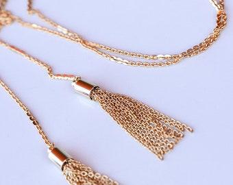 Tassel Lariat Necklace - Lariat Necklace - Tassel Necklace - Dainty Gold Necklace - Dainty Necklace - Gold Filled - Minimal necklace