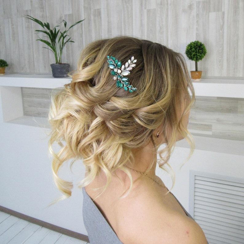 Emerald wedding hairpin with Rhinestone