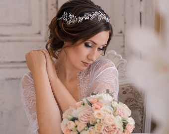 Bridal Hair vines Headpiece Extra long Tiara Wedding crown