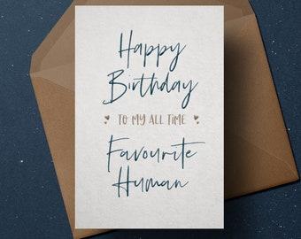 favourite human boyfriend birthday card card for her cards for boyfriend card for him cute birthday cards