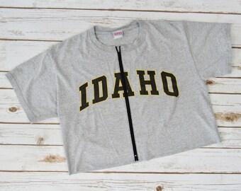 VINTAGE University of Idaho Zip-Up Crop Tee (M)