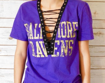 NEW Baltimore Ravens Lace-Up Tee (S)