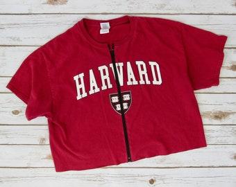 VINTAGE Harvard University Zip-Up Crop Tee (L)
