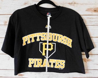 NEW Pittsburgh Pirates Zip-Up Crop Tee (M)