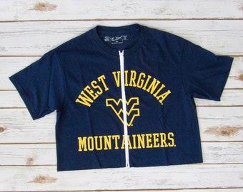 NEW West Virginia University Zip-Up Crop Tee (S)
