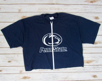 f403e40602862 VINTAGE Penn State University Zip Up Crop Tee (L)