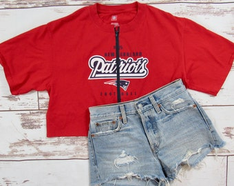 Vintage New England Patriots Cropped Zip-up Tee L