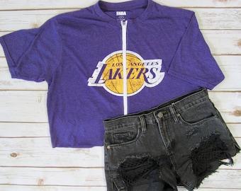 c21b368fd4f VINTAGE Los Angeles Lakers Zip Up Crop Tee