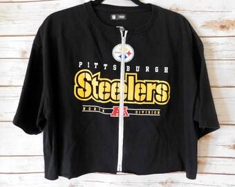 VINTAGE Pittsburgh Steelers Zip-Up Crop Tee (XL)