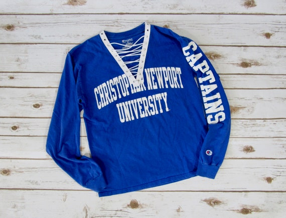 100% authentic 2d448 5a323 VINTAGE Christopher Newport University Lace-Up Long Sleeve Tee (S)