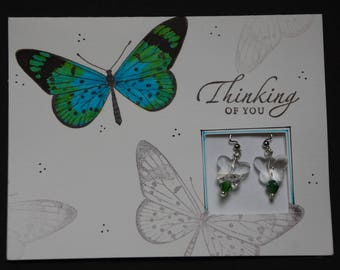 Gift and Wrap in One Aqua and Green Butterfly Card with Earrings