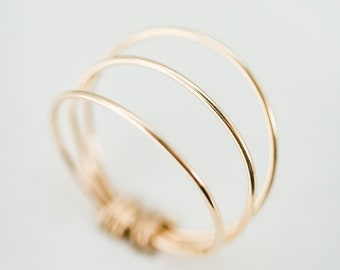 The Trio Ring - Thin and simple gold filled wire wrapped 3 layer ring