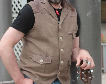 Urban Mojo 01 men's wool & leather waistcoat