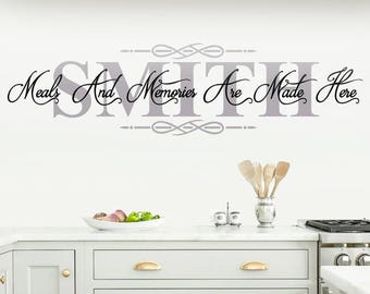 Personalized Kitchen Wall Decal   Meals And Memories Are Made Here   Vinyl  Sticker   Decor   Art   Quote   Lettering   Sayings   Family Name