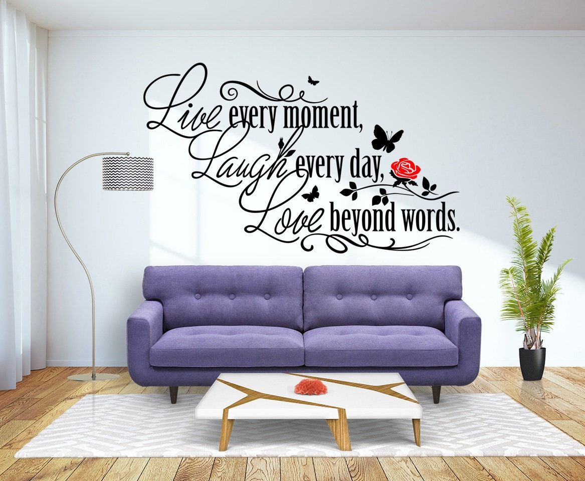 Live Laugh Love Quote Bird /& flowers Wall Decal Sticker Art. Any Colour or size
