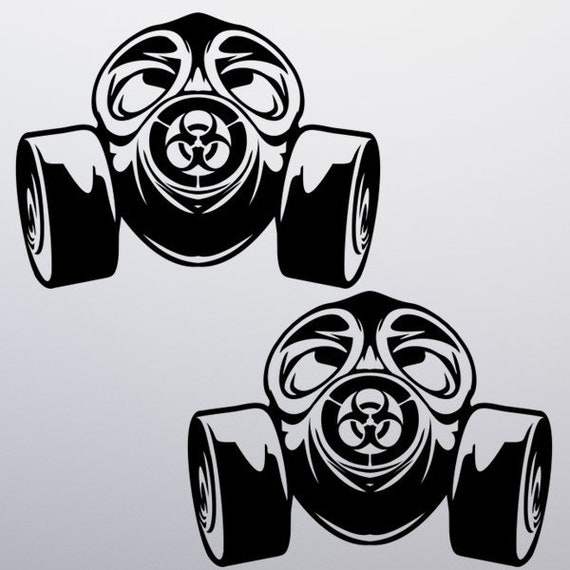 Pack Sticker 2 TWO Gas Mask Vinyl Decal