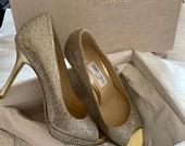 Classic Elegant Jimmy Choo sparkle champagne heels 38