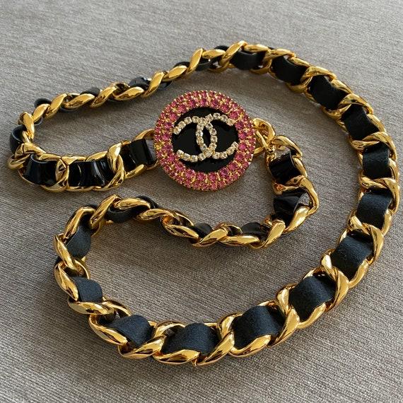 Vintage Chanel leather chain jumbo crystals pendan